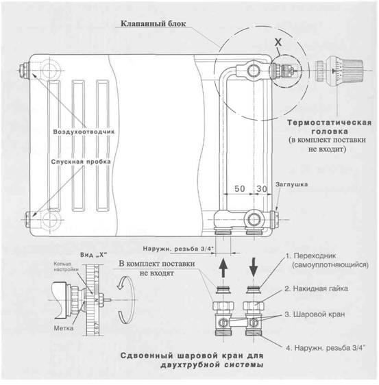 Схема подключения радиатора типа KV в двухтрубной системе отопления.